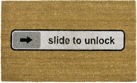 Slide To Unlock Doormat by The Apple Fan Doormat The Slide To Unlock Mat
