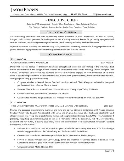 Resume Sle For Chef by 9 Best Best Hospitality Resume Templates Sles Images