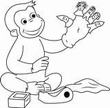 George Curious Puppets Coloring Puppet Playing Fingers Finger Georges Cartoon Coloringpages101 sketch template