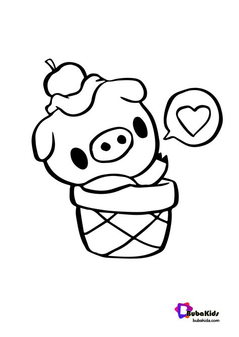 Cute Pigo The Pig Coloring Page BubaKids com