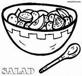 Salad Coloring Drawing Plate Getdrawings sketch template