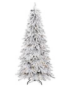 Slim Flocked Christmas Trees Artificial by Snowy Spruce Flocked Artificial Christmas Tree Treetopia