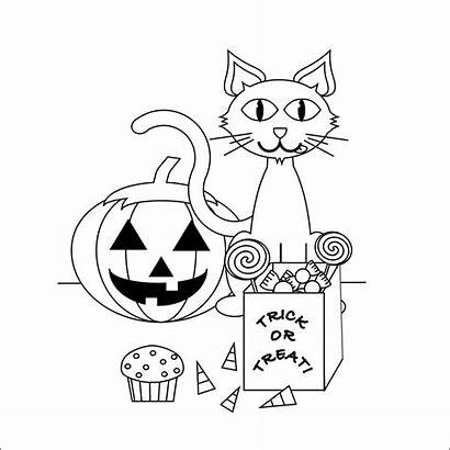 Coloring Halloween Pages Cat Printable Pumpkin October