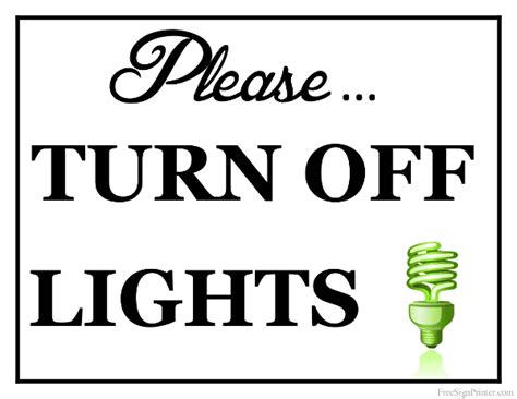shut the lights off printable turn off lights sign for the home pinterest