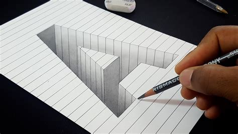 Easy Drawing! How To Draw 3d Hole Letter A Shape In Line
