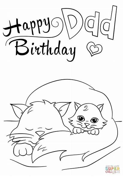 Coloring Dad Birthday Happy Pages Printable Daddy
