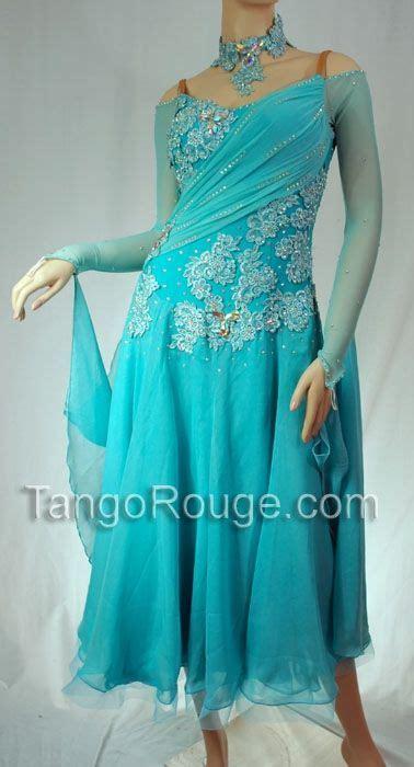 Aquamarine Ballroom Foxtrot Waltz Dance Dress - L ...