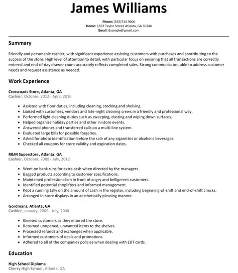 Fast Food Cashier Resume Exles by Cashier Sle Resume Diplomatic Regatta