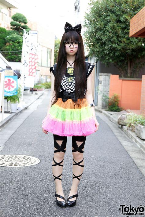 harajuku w big hair bow colorful tulle skirt