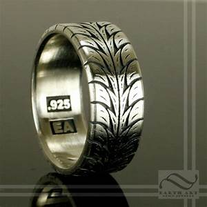 low profile tire tread ring sterling silver With racing wedding rings