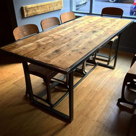 wood steel dining table rustic metal steel industrial reclaimed scaffold board