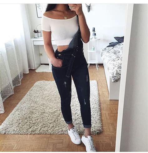Jeans denim grey dungarees jumpsuit tumblr tumblr outfit dungares black crop tops ...