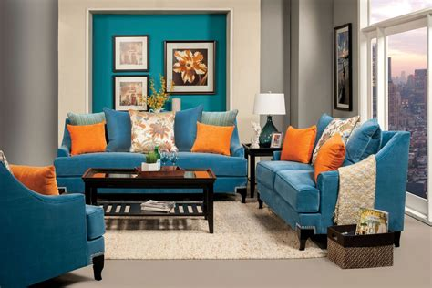 vincenzo contemporary sofa set  royal blue foa