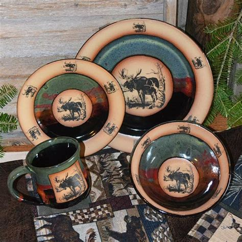 forest lodge moose dinnerware cabin place