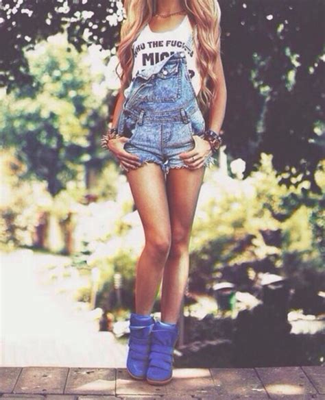 Jumpsuit ootd denim denim overalls denim overall shorts summer outfits ripped/distressed ...
