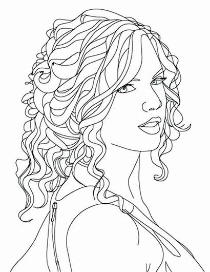 Coloring Pages Hair Swift Taylor Curly Printable