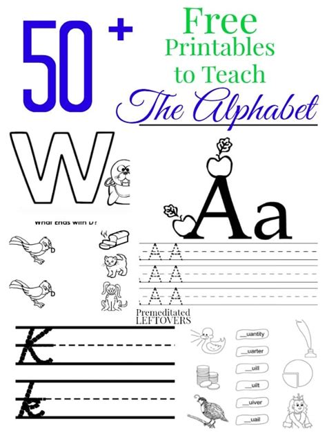 50 free printables to teach the alphabet