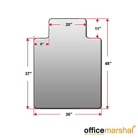 office marshal premium chair mat with lip 36 quot x 48