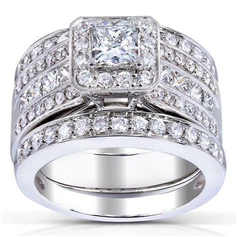 5 carat wedding ring set princess cut 3 bridal ring set 1 4 5 carat