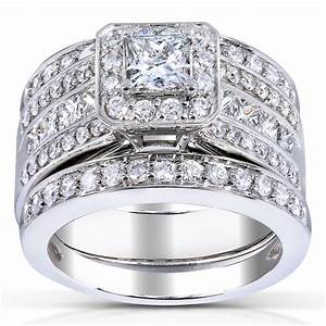 Princess cut diamond 3 piece bridal ring set 1 4 5 carat for 3 carat diamond wedding ring set