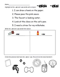 aw au worksheet literacy stations