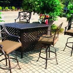 darlee ten star 5 piece cast aluminum patio party bar set