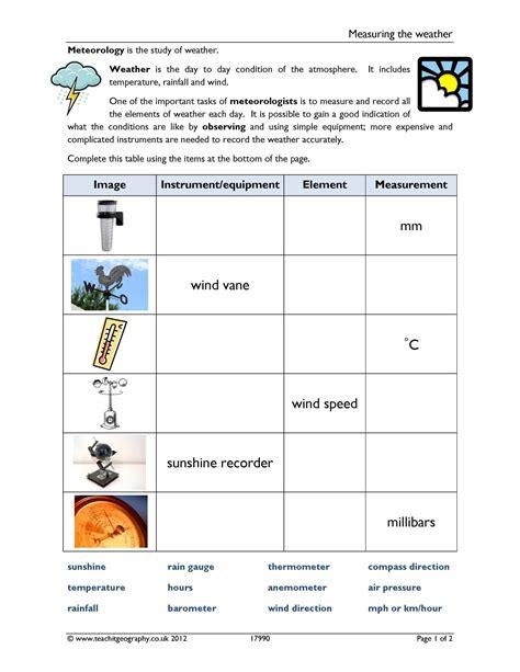 worksheet weather instruments worksheet grass fedjp