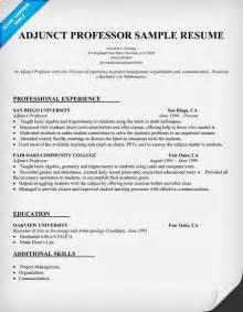 resume for teaching assistant professor resume exle for adjunct professor resumecompanion list teaching