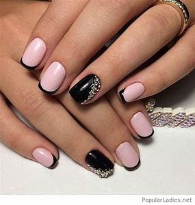 Pink and black nails with diamonds