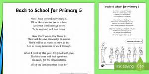 Back To School Primary 5 Poem - term, class, New, Year