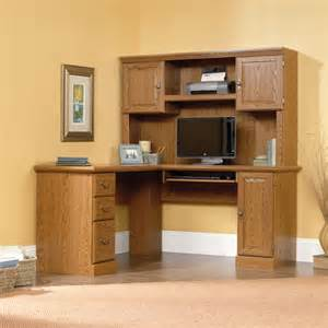 sauder orchard corner computer desk and hutch carolina oak furniture walmart