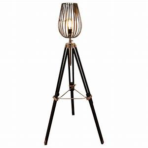 fat shack vintage tripod floor lamp with black wire cage With caged chandelier floor lamp