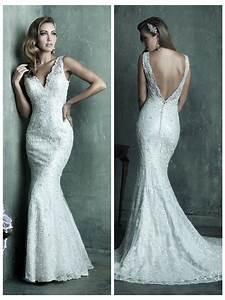 dreamy lace sheath v neck wedding dress with deep v back With v neck sheath wedding dress