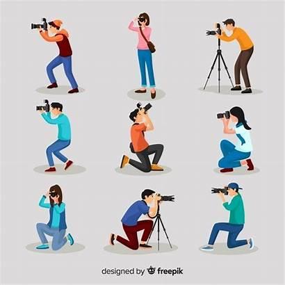 Flat Photographers Characters Fotografen Freepik Activities Premium