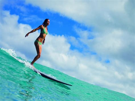 surfer board surfing girl ocean people hd wallpaper