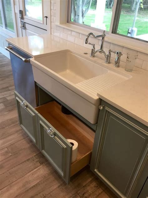 Kitchen Farmhouse Apron Sink With Drain Board Grey