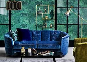decoration salon contemporain les tendances deco en 2016 With tapis de course avec canapé en velours bleu