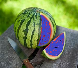 A magic fruit that has the shape of a watermelon, color of ...