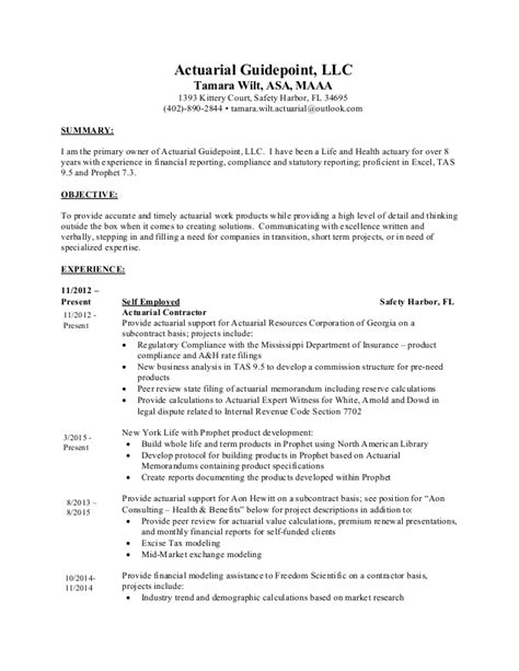 Actuary Resume Tips by Actuarial Guidepoint Llc Tamara Wilt Maaa Resume 2016