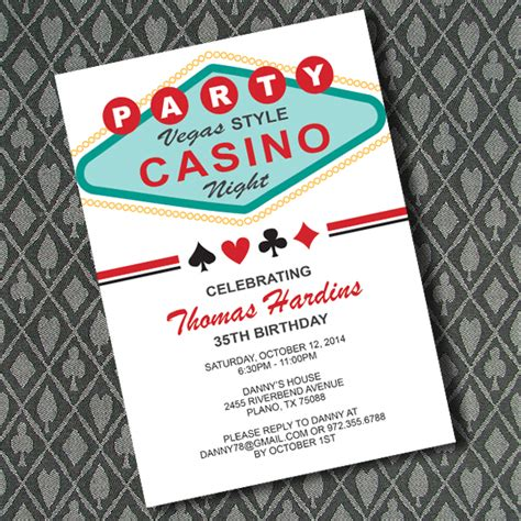 vegas casino night invitation template  print