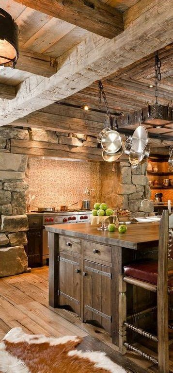 rustic cabin kitchen cabinets rustic kitchen with spinneybeck cowhide rug wood counters 4962