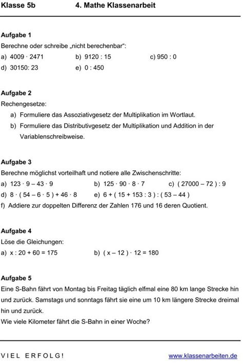 klassenarbeit zu gleichungen und terme mathe  klasse