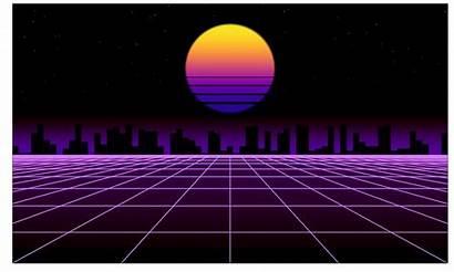 Synthwave Sunset Vaporwave Neon Matplotlib Skyline Miami