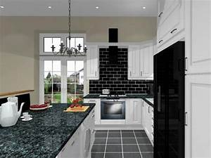 Black white kitchens ideas orangearts small modern kitchen for Kitchen colors with white cabinets with modern black and white wall art