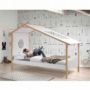 Lit Tipi Enfant : lit enfant tipi cocoon 90x200cm blanc naturel ~ Teatrodelosmanantiales.com Idées de Décoration