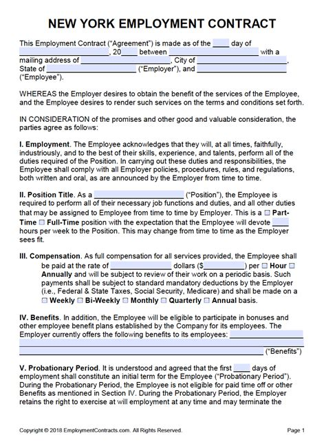 york employment contract template  word