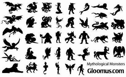 Vector Monsters Silhouettes Mythological Clipart Clip Mermaid