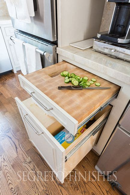Pull out drawer cutting board with hole for trash down