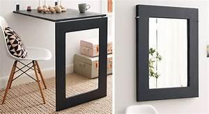 Meuble Avec Table Rabattable : meuble pratique une table design et un miroir prima ~ Teatrodelosmanantiales.com Idées de Décoration