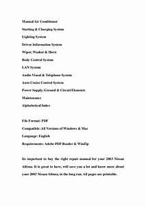 2003 Nissan Altima Service Repair Workshop Manual Download